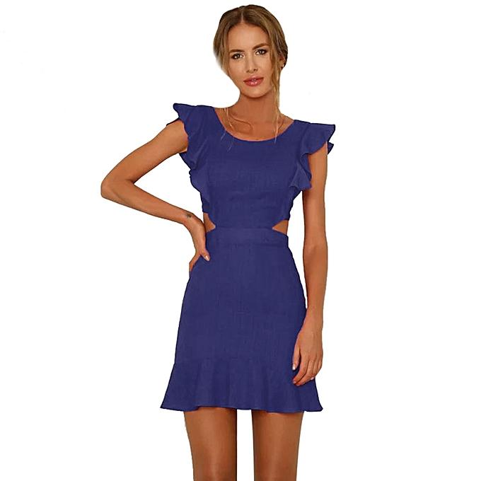 69402bdb627 High-end Women Solid Short Sleeve Ruffles Backless Hollow Out Beach Boho  Mini Dress