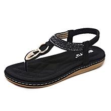 New Style Super Large Size Leather Women Sandals Bohemian Diamond Slippers Woman Flats Flip Flops Shoes Summer Beach Sandals -black