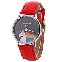 Lady  Leather Wrist Watch Fulaida  Women Fashion Pattern Quartz Watch Leather Strap Belt Table Watch Red-Red