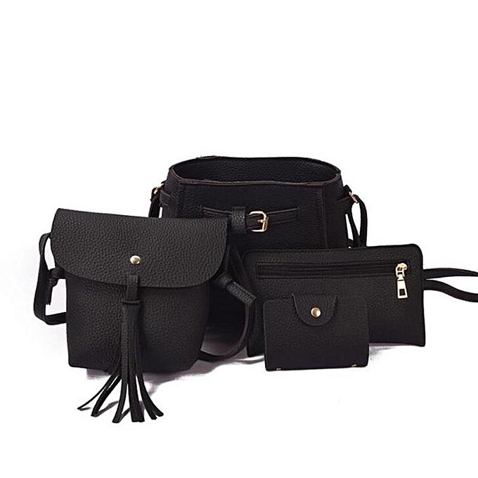 95bdd663701 4Pcs 1Set Elegant Women PU Leather Bags Handbag Lady Shoulder Bag Tote Purse