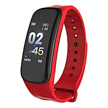 Smart Bracelet Blood Pressure Heart Rate Sleep Monitors Tracker Wristband red