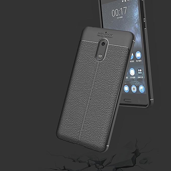 ... For Nokia 6 Litchi Texture Design Soft TPU Anti-skip Protective Cover Back Case( ...