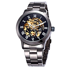 SHENHUA Top Luxury Retro Black Automatic Mechanical Skeleton Watches Men Waterproof Shockproof Sports Men Watches  (Gray&Yellow)