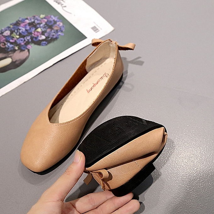 4ef2a3fa885 ... New Stylish Women Square Head Comfortable Flat Loafers Artificial  Leather Single Shoes -Brown
