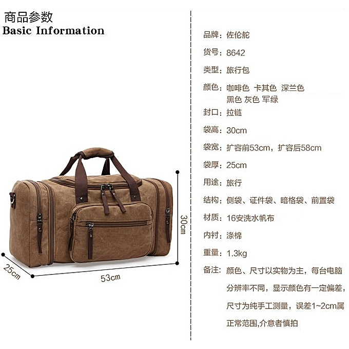 ... Unisex casual outdoor travel canvas handbag multi-function large  capacity duffle bag weekender bag edc8c5cac56fc
