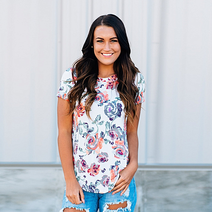 8878f4cd8d2bd Hiaojbk Store Women Ladies Flowers T-Shirt Short Sleeve Round Neck Casual  Tops Blouse Tee