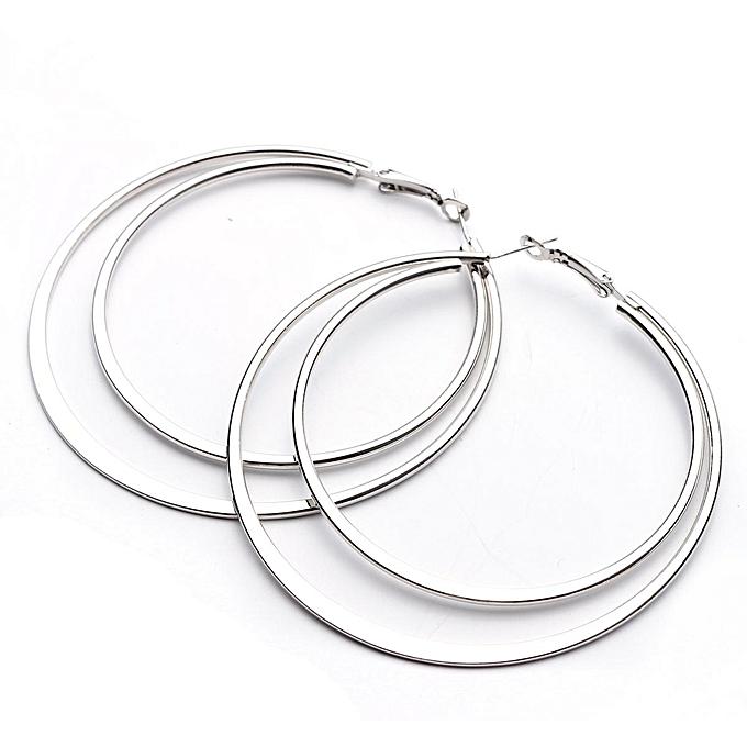 b0403e971 ... Dual Big Round Women Alloy Hoop Earrings Charm Silver Gold Jewelry Gift  Wedding Silver
