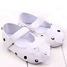 bluerdream-Newborn Shoes Soft First Walker Anti-skip  Backing Princess Shoes WH 11- White
