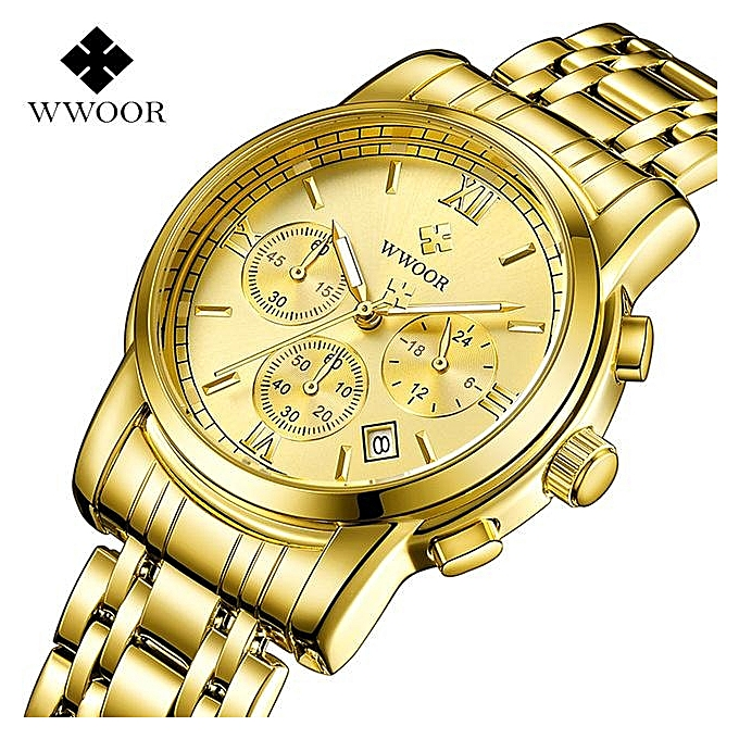 2f63b894cb1 WWOOR Gold Watch Men Waterproof Business Quartz Clock Mens Watches Top Brand  Luxury Stainless Steel Male
