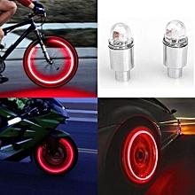 Fohting 2pcs LED Tire Valve Stem Caps Neon Light Auto Accessories Bike Bicycle Car Auto -Silver