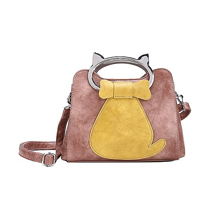 Women Cute Cat Sching Handbags Soft Pu Leather Metal Handle Shoulder Bags
