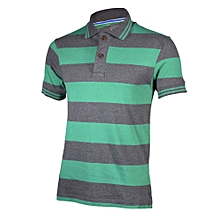 Green and Grey Striped Mens Pure Cotton Polo T-Shirts - Freestyle Streetwear