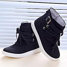 Women's Ankle Boots Flats With Buckle Lace-Up Fashion Canvas Martin Boots BK/35-Black -CN SIZE