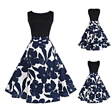 Xiuxingzi_Women Floral Elegant Sleeveless Vintage Tea Hepburn Dress Ball Gown