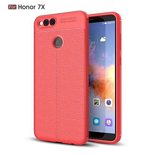 best sneakers af67f 049ce Huawei Honor 7X Silicone Case Litchi Pattern TPU Cover - Red