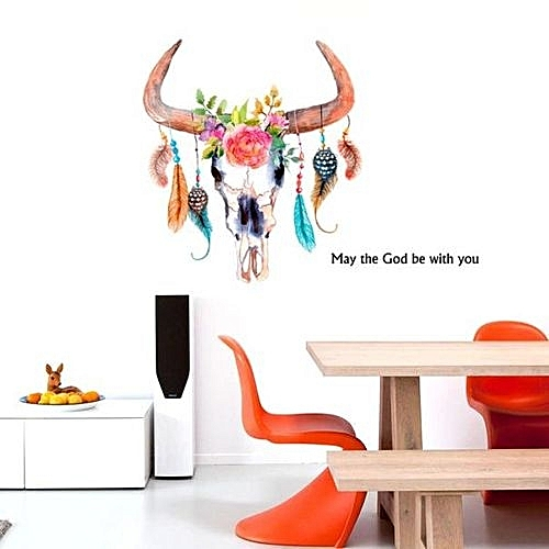 Skywolfeye Colorful Feather Wall Sticker Home Decoration Wall Poster