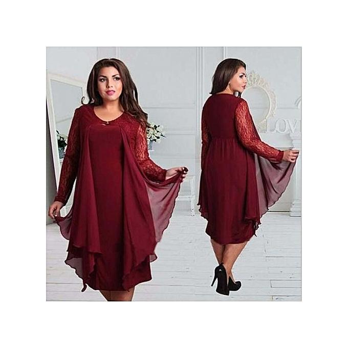 Fashion Plus Size Lace Dress Women Sexy O Neck Half Sleeve A Line