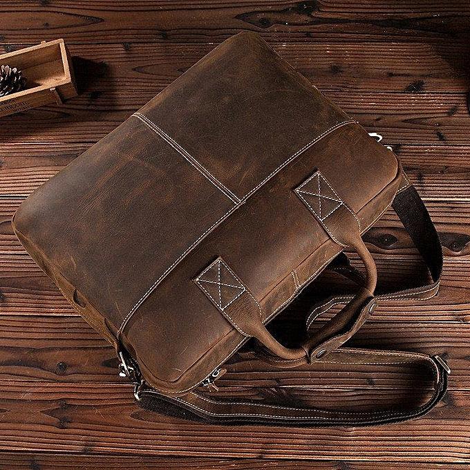 36e4567cf99b ... BLUESEBE Men Handmade Dark Brown Vintage Leather Briefcase Messenger  Bag 8012