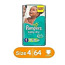Diapers with Extra Absorb Channels - Size 4 (64 Count)