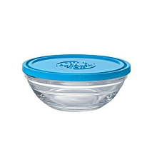 Lys Round Stack Bowl - 14cm - Clear with Blue Lid