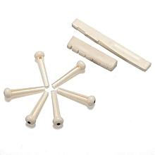2 Set Acoustic Guitar Bone Bridge Pins Nut Saddle Part White