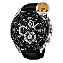 Black Leather Strap Watch With White Dial EFR 539L 1AV