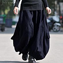 ZANZEA Solid Long Wide Leg Loose Baggy Cargo Pants Trousers Women Cotton Linen High Elastic Waist Fashion Lantern Pantalon Navy