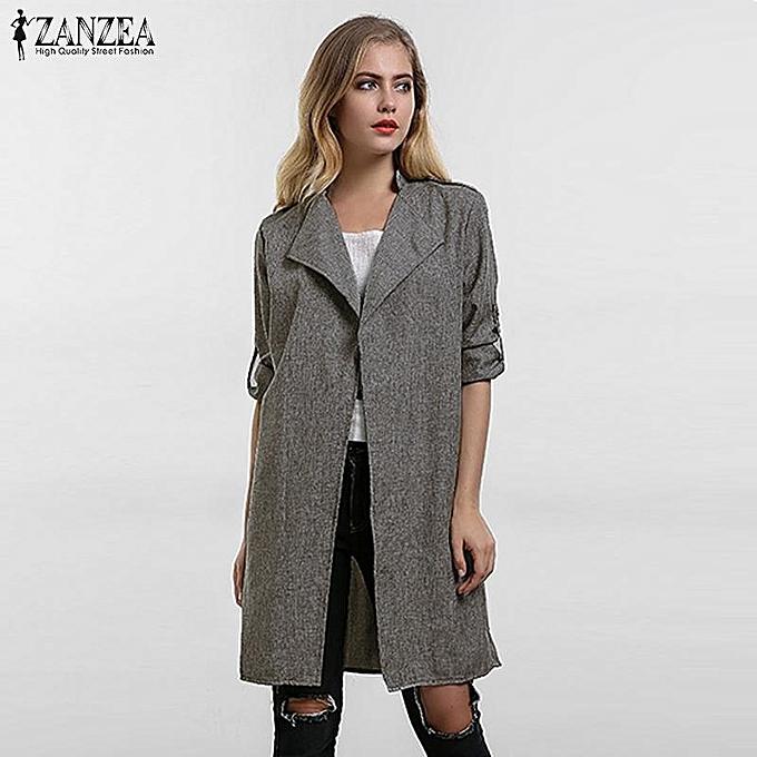 d8791644160 ZANZEA Women Outerwear Spring Autumn Casual Loose Lapel Windbreaker Cape  Coat Thin Cardigan Jacket Coats Plus