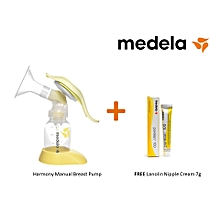 Harmony Manual Breast Pump - comes with Medela PureLan 100 Nipple Cream 7gms