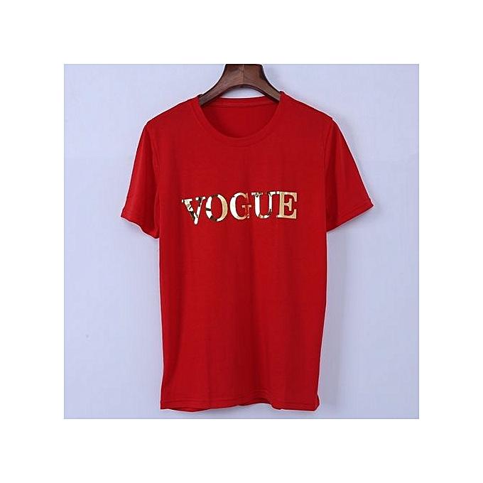 777853befc2b ... S-4XL Fashion Plus Size T Shirt Tops Femme VOGUE Pringting Casual Tee  Shirt ...