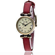 Fohting  Vansvar Women's Casual Quartz Leather Band Newv Strap Watch Analog Wrist Watch -Red