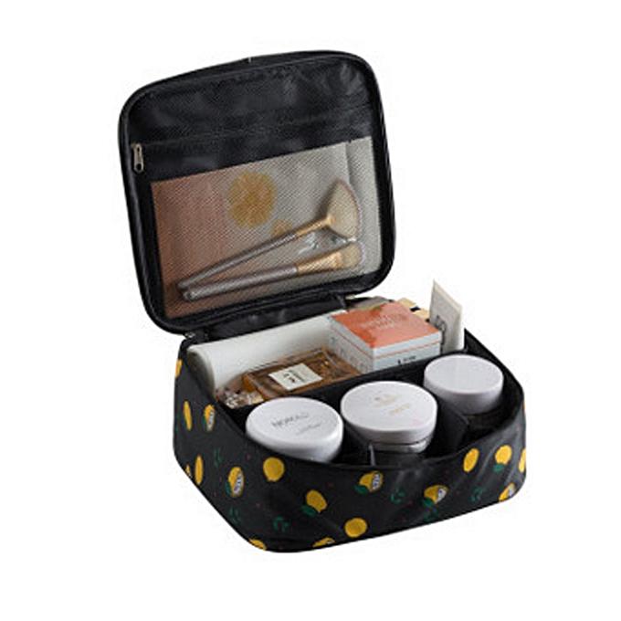 6a43afedba61 organizer travel fashion lady cosmetics cosmetic bag storage bags large  capacity Women makeup bag H127(Style B Black lemon)