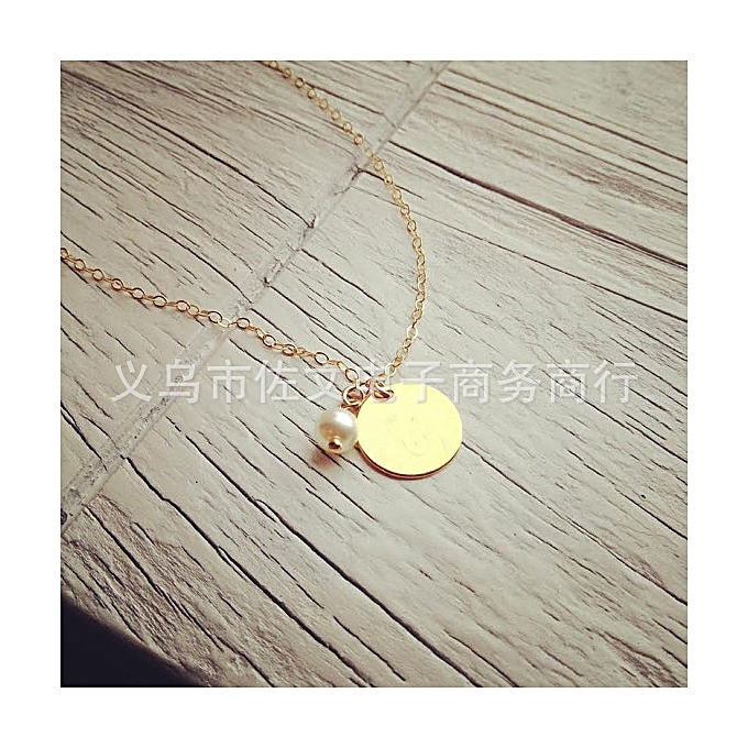 9d4fa5cfec682 Golden-Large brand jewelry compact gold plated CD-ROM small pearl short  chain 7