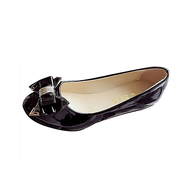 6814159df43 Spring Autumn Toe Flat Heel Bow Tie Shoes Women Fashion Women s Flat Shoes-Black  (