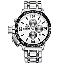SKONE Steel Mens Watches Top Brand Luxury Stopwatch 6 Hand 24 Hours Chronograph Military Sport Watch Clock Men relogio masculino (White) WWD