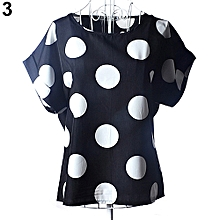 Women Summer Casual Chiffon Top Dot Star Batwing Short Sleeve Loose Shirt Blouse.,