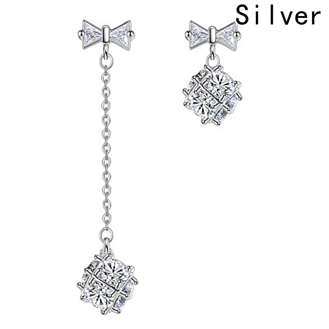 Fashion Jewelry 925 Sterling Silver Plated Crystal Dangle Earring Stud Long Earrings
