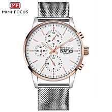 MF0180G Men Watch Quartz Stainless Steel Strap Simple Wristwatch Time Display Calendar Fashion Casual 3ATM Waterproof Luminous Hands Male Watches