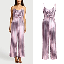 jiuhap store Womens Clubwear Strappy Striped Playsuit Bandage Bodysuit Party Jumpsuit -Pink