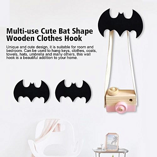 Generic Multi Use Cute Bat Shape Wooden Clothes Hook Kids Wall Decorate Hanger