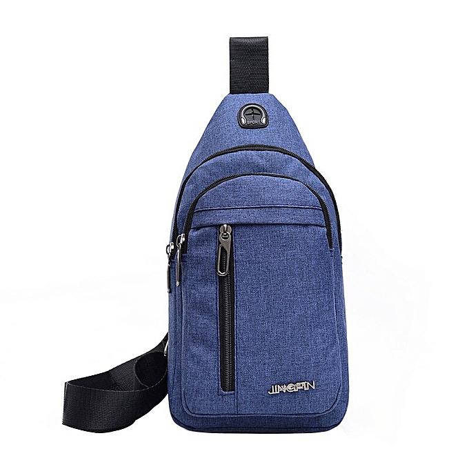 e754048cf481 Men Canvas Messenger Bag Male Versatile Casual Crossbody Bag Small Bag Wild  Plaid Chest Shoulder Bag For Man 2019 Solid Color(Blue)