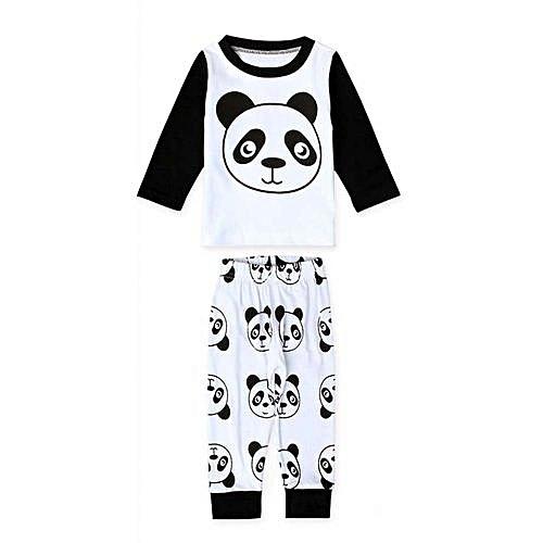 e47cc121ab3bc Kid Child Baby Boy Girl Panda Print Long Sleeve Tops+Pants Clothes Outfits  Set