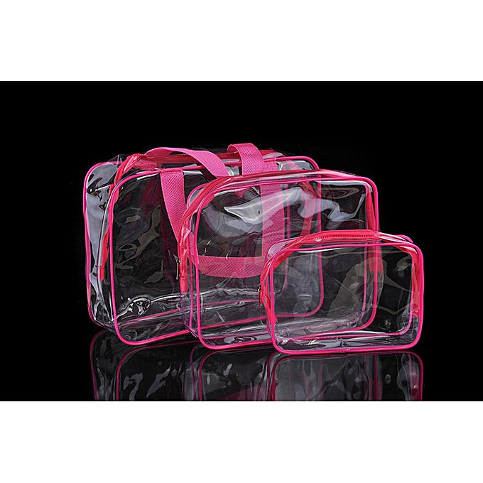 6d21cee598e8 Transparent PVC Bags Travel Organizer Clear Makeup Bag Women Cosmetic Bag  Beauty Case Toiletry Tote Make Up Pouch Wash Bags(Pink)