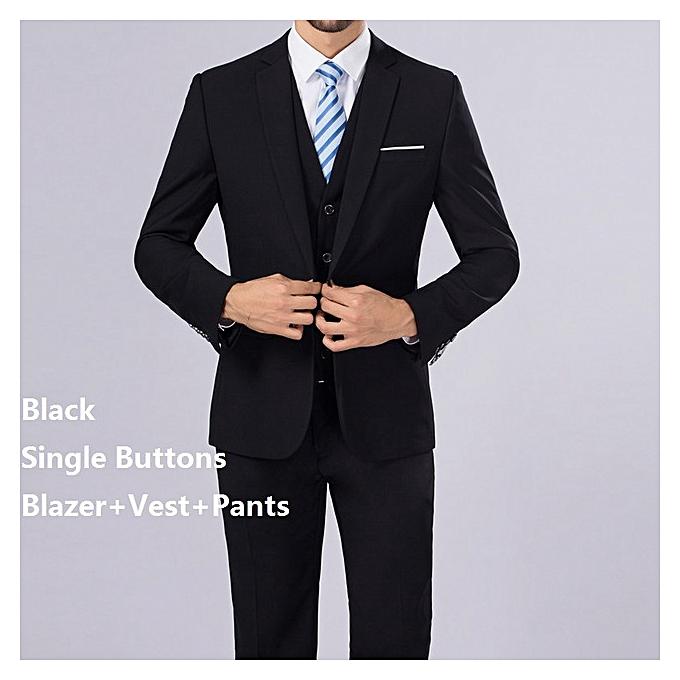 3cd8d0daa58 (Blazer+Pants+Vest) 3 Pieces Men Suit Slim Fit Wedding Business Wear