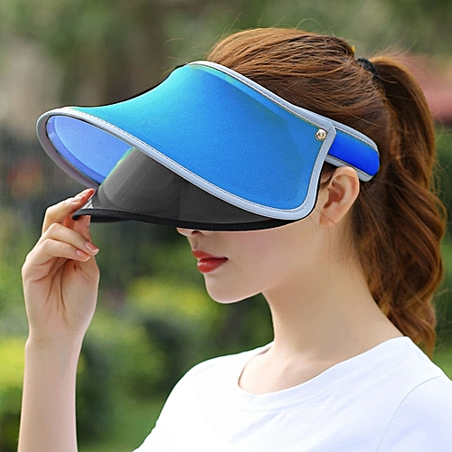 Generic Outdoor Double Layer Female Topless Wide Brim Hat(Blue)   Best Price   29db0deb94ed