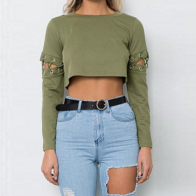 184561790d ... Tops Black Army Green · Sexy Women Crop Top Lace-Up Bandage Long Sleeve  Solid Slim Short T-shirt