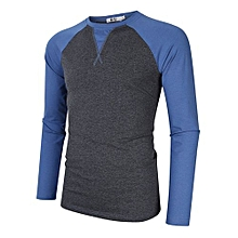 MrWonder Men's Casual Jersey Slim Fit Raglan Long Sleeve Baseball Tee Shirts Color:Gray Blue Size:XL