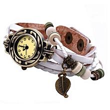 Women Girl Vintage Watches, Bracelet Wristwatches leaf Pendant White