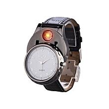 Men USB Lighter Watch Quartz Wristwatch Flameless Cigarette Lighter Rechargeable Windproof