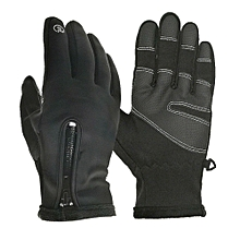 Unisex Winter Thermal Outdoor Cycling Sports Waterproof and Windproof Touched Screen Zipper Gloves